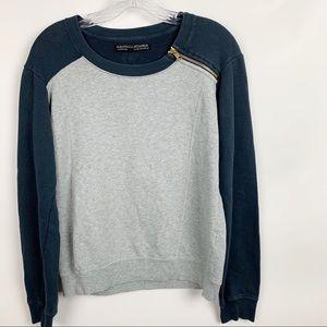 AllSaints Color Block Zip Grey Navy Sweatshirt